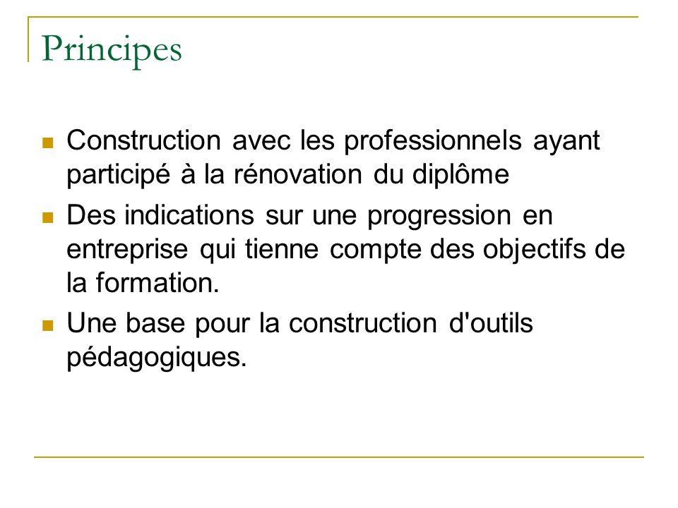 Principes Construction avec les professionnels ayant participé à la rénovation du diplôme.