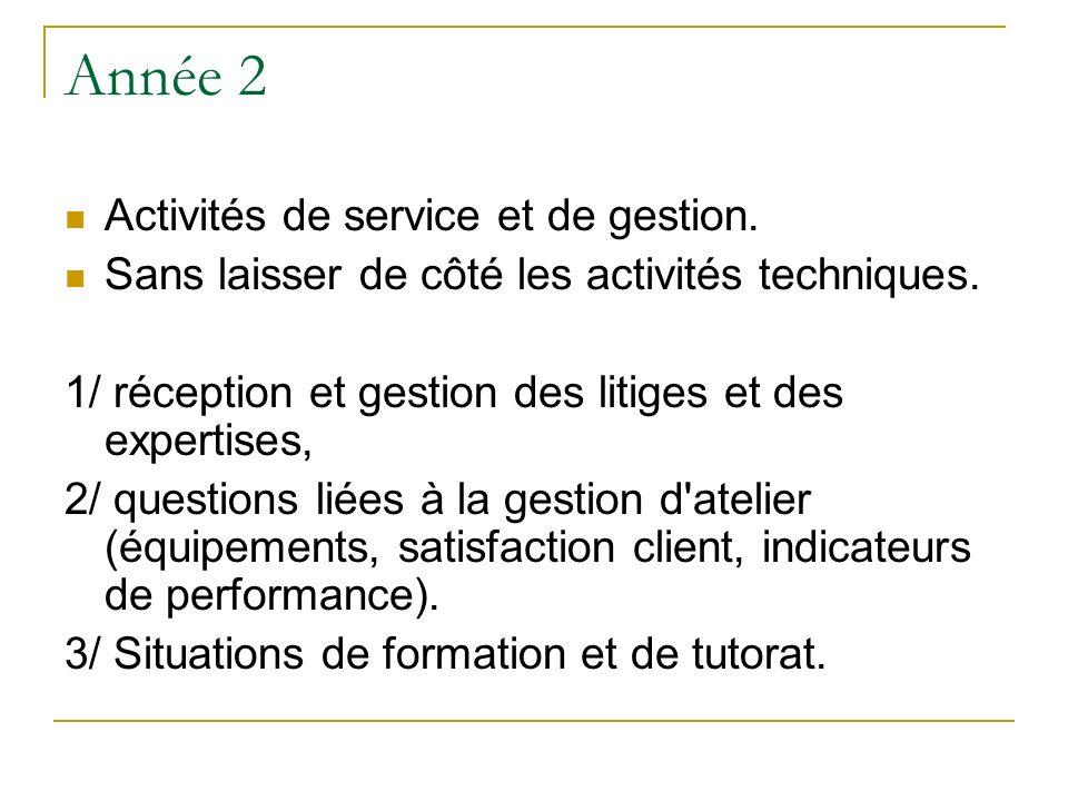 Année 2 Activités de service et de gestion.