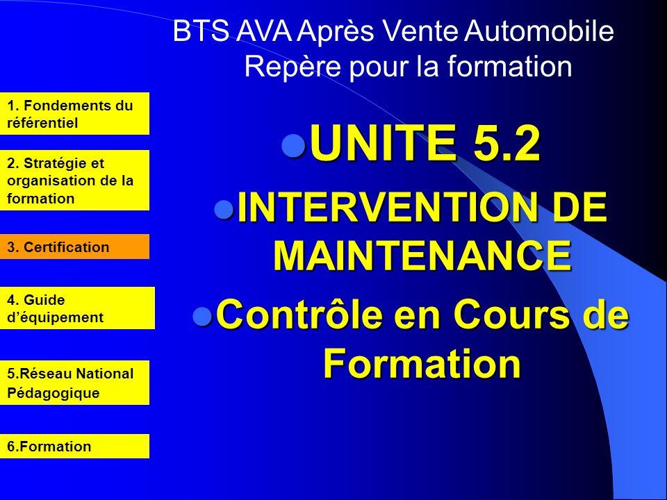 INTERVENTION DE MAINTENANCE Contrôle en Cours de Formation