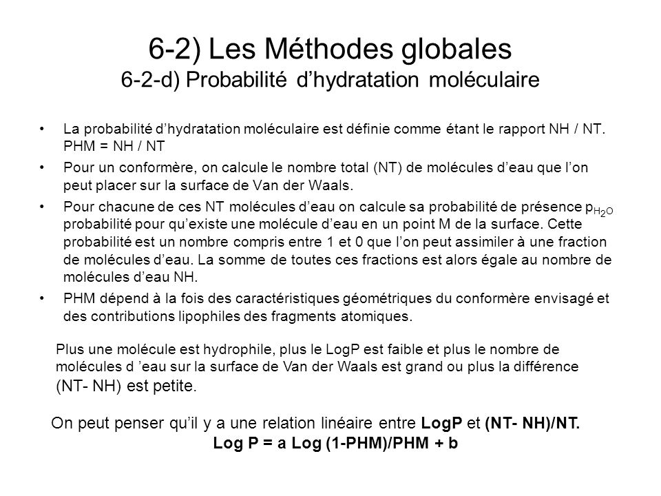 Log P = a Log (1-PHM)/PHM + b