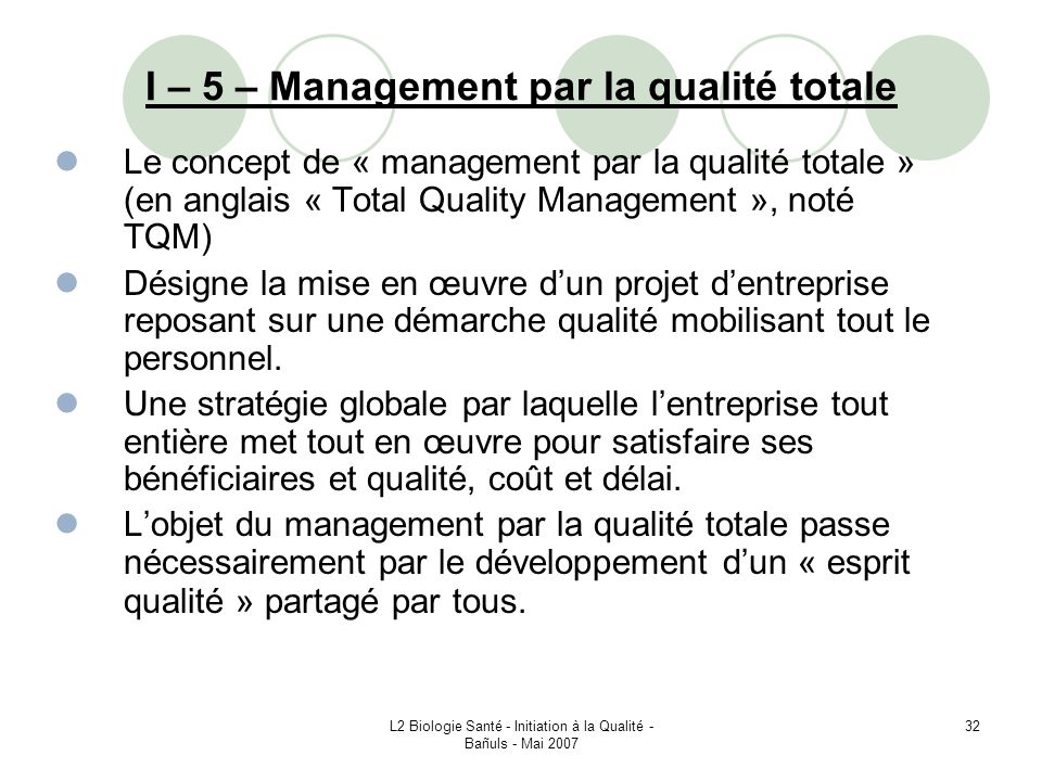 I – 5 – Management par la qualité totale