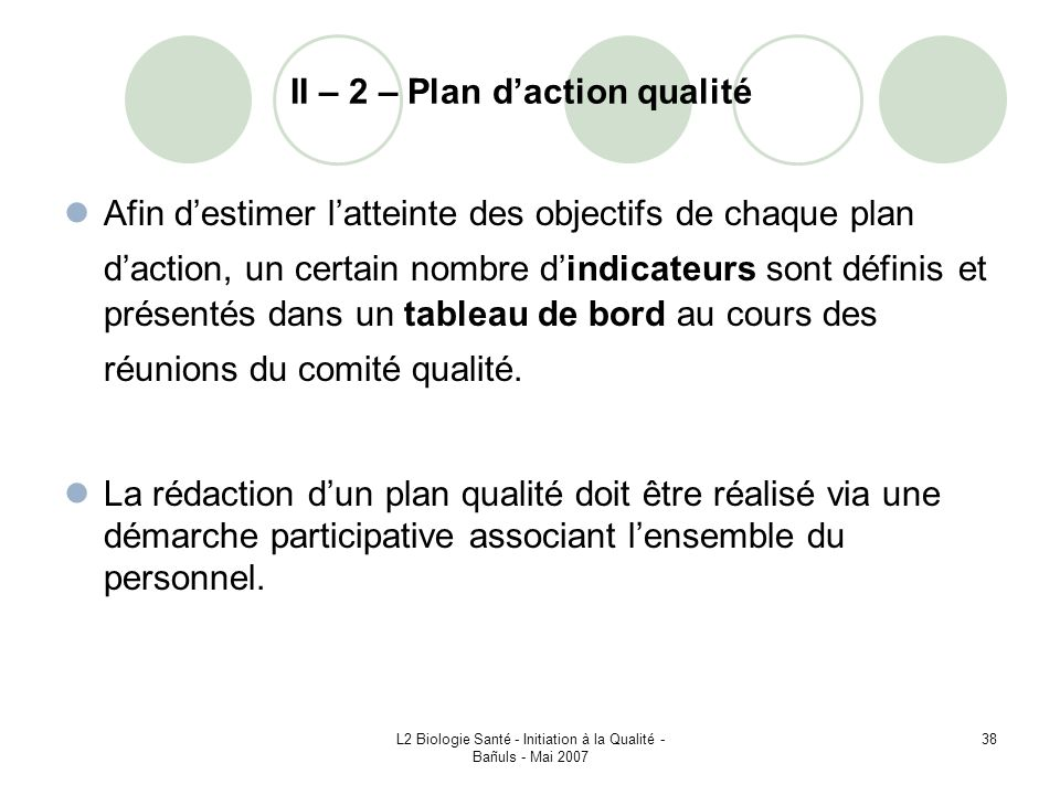 II – 2 – Plan d'action qualité