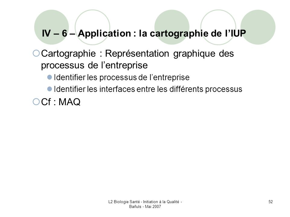 IV – 6 – Application : la cartographie de l'IUP