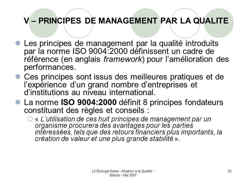 V – PRINCIPES DE MANAGEMENT PAR LA QUALITE