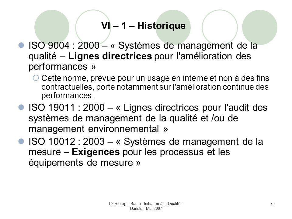 L2 Biologie Santé - Initiation à la Qualité - Bañuls - Mai 2007