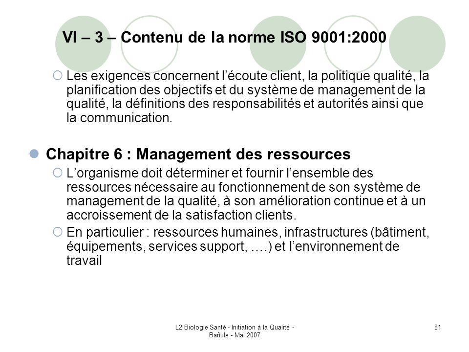 VI – 3 – Contenu de la norme ISO 9001:2000