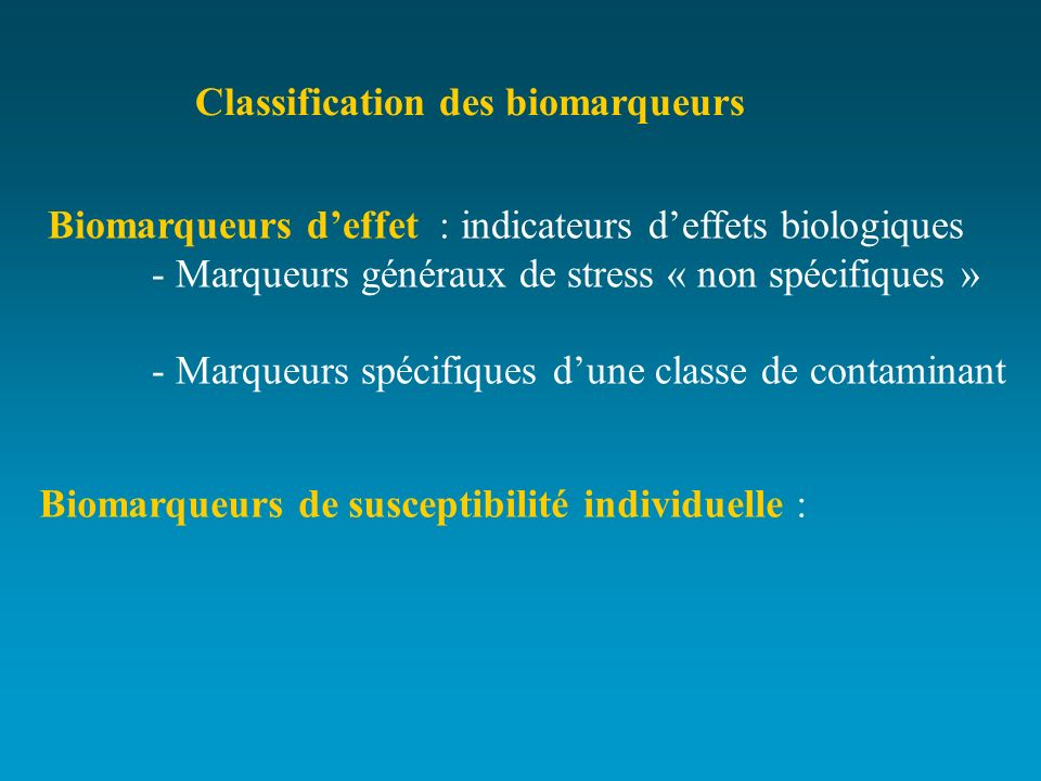Classification des biomarqueurs