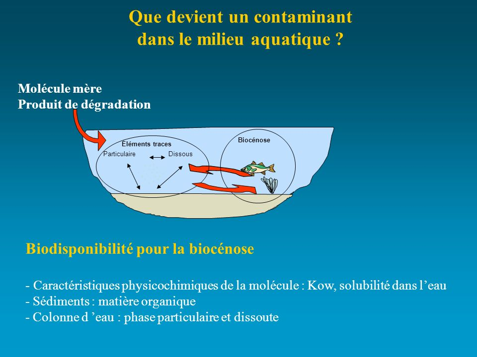 Que devient un contaminant dans le milieu aquatique
