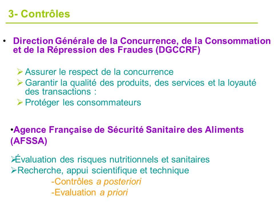 3- Contrôles Direction Générale de la Concurrence, de la Consommation et de la Répression des Fraudes (DGCCRF)