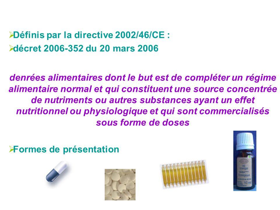 Définis par la directive 2002/46/CE :