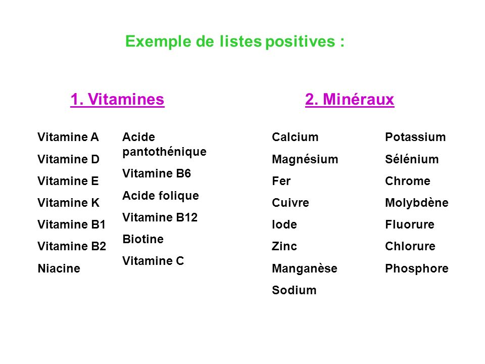 Exemple de listes positives :
