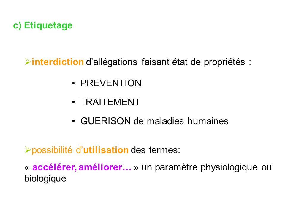 c) Etiquetage interdiction d'allégations faisant état de propriétés : PREVENTION. TRAITEMENT. GUERISON de maladies humaines.