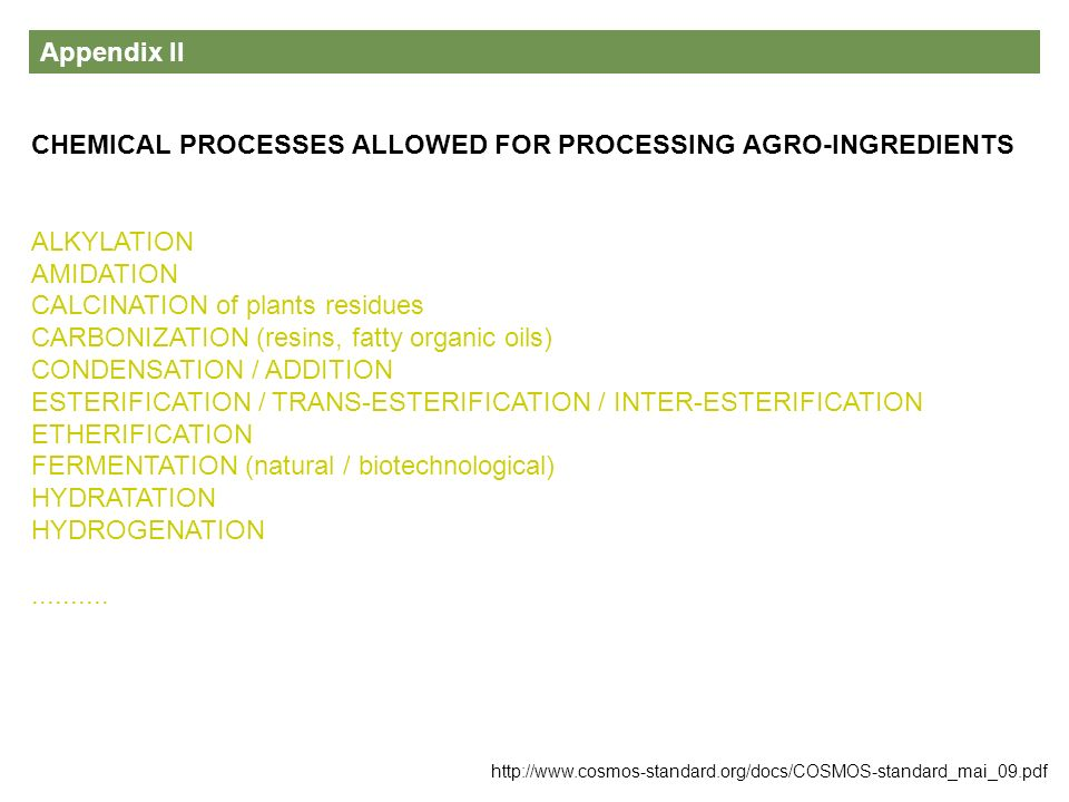 CHEMICAL PROCESSES ALLOWED FOR PROCESSING AGRO-INGREDIENTS