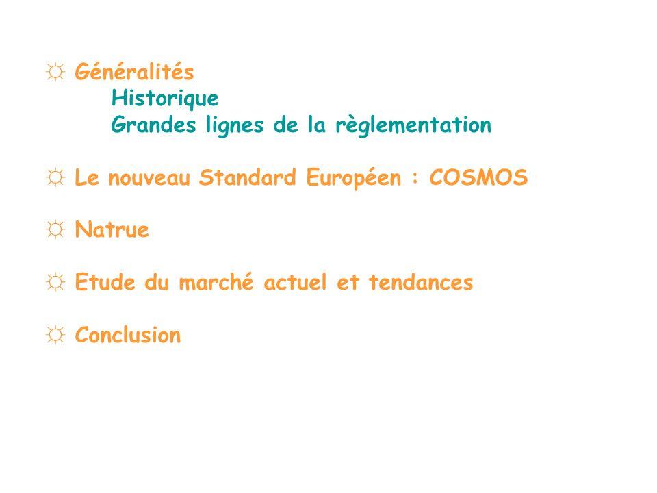 ☼ Généralités Historique. Grandes lignes de la règlementation. ☼ Le nouveau Standard Européen : COSMOS.