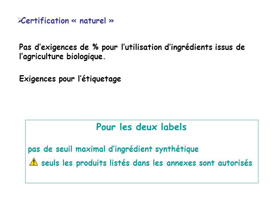 Pour les deux labels Certification « naturel »