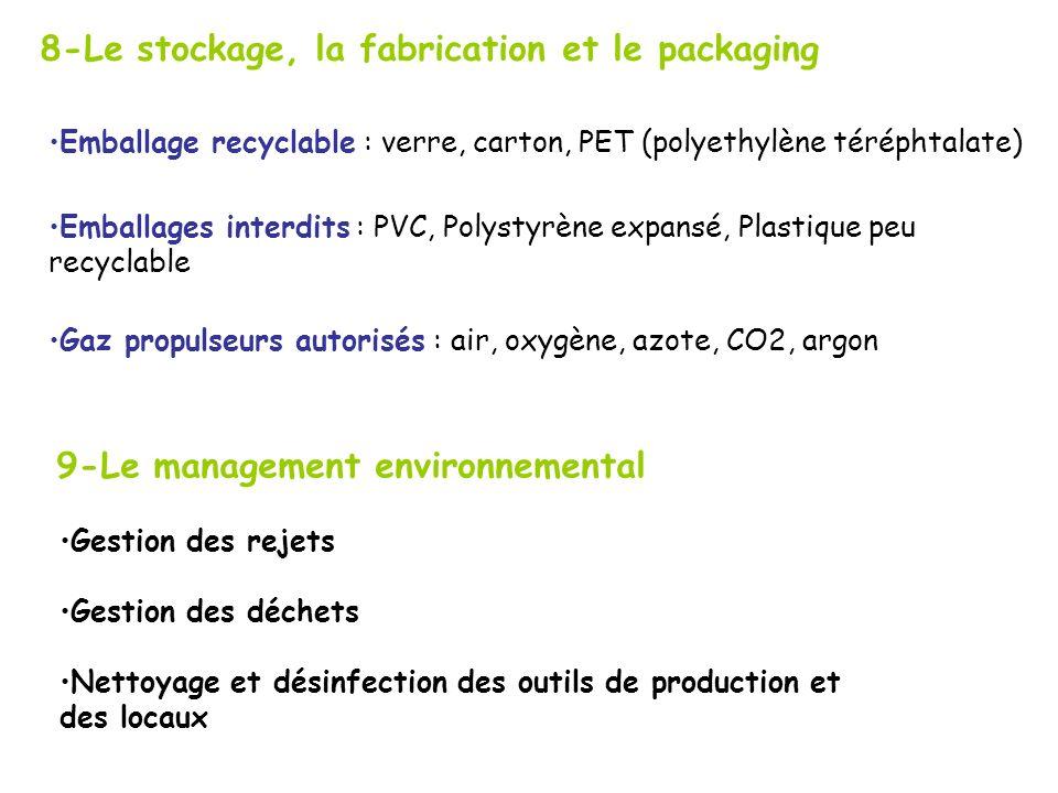 8-Le stockage, la fabrication et le packaging