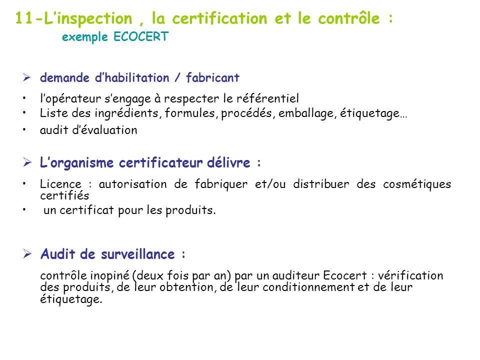 11-L'inspection , la certification et le contrôle : exemple ECOCERT