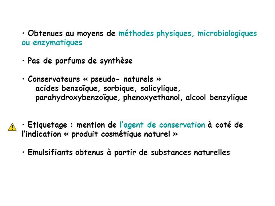 Obtenues au moyens de méthodes physiques, microbiologiques ou enzymatiques