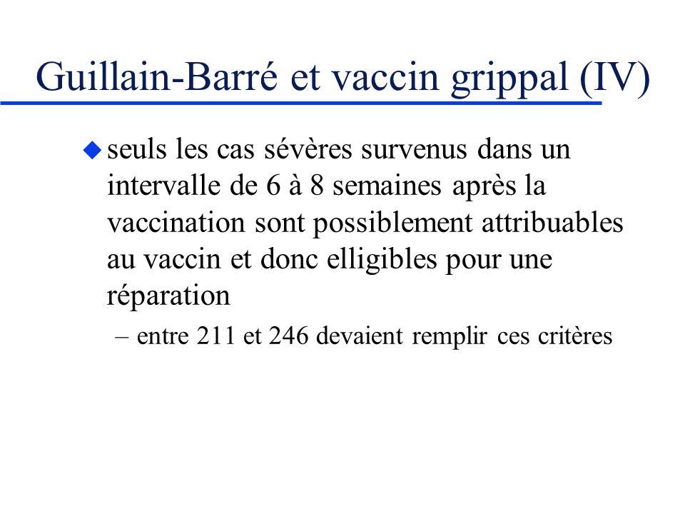 Guillain-Barré et vaccin grippal (IV)