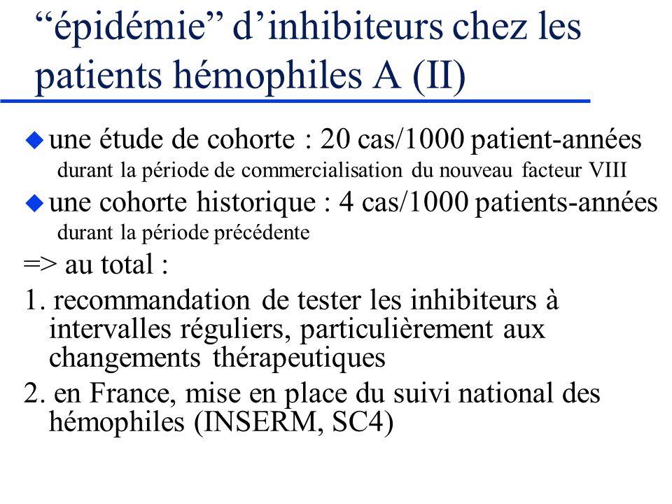 épidémie d'inhibiteurs chez les patients hémophiles A (II)