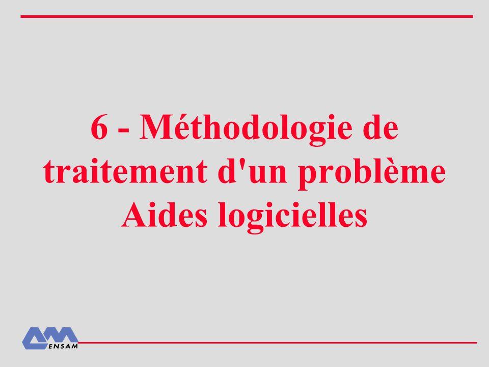 6 - Méthodologie de traitement d un problème Aides logicielles