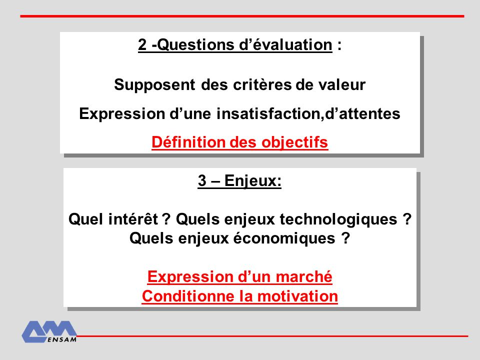 2 -Questions d'évaluation :