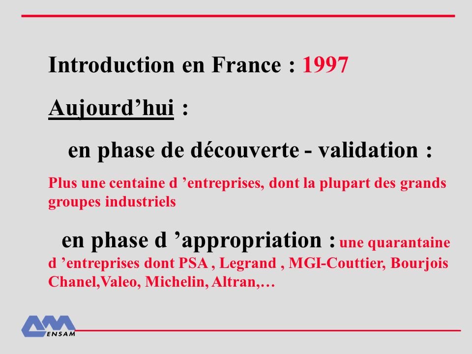 Introduction en France : 1997 Aujourd'hui :