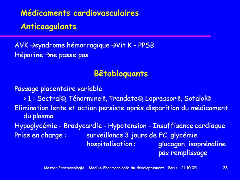Médicaments cardiovasculaires Anticoagulants