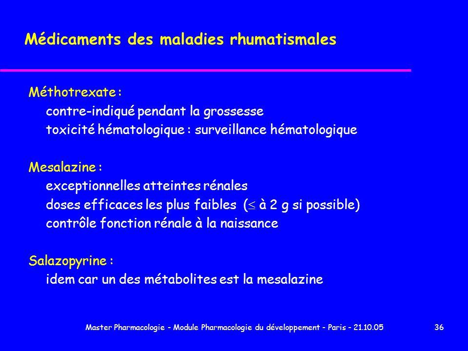 Médicaments des maladies rhumatismales