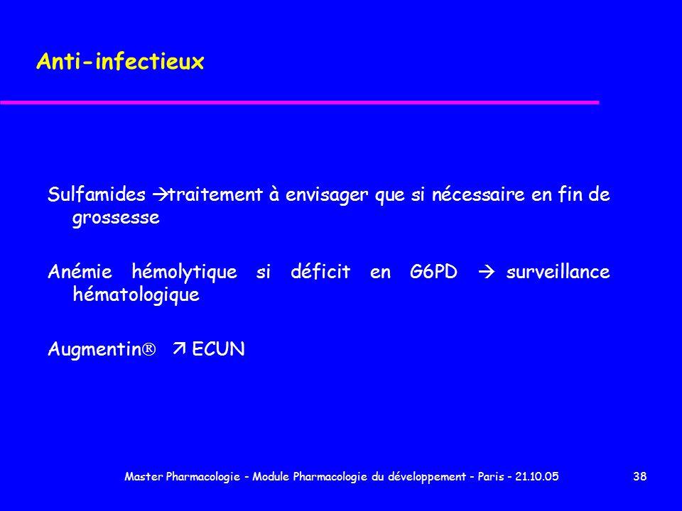Anti-infectieux Sulfamides à traitement à envisager que si nécessaire en fin de grossesse.
