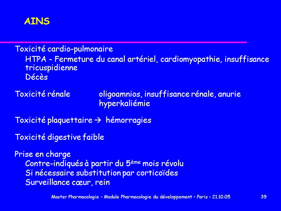 AINS Toxicité cardio-pulmonaire