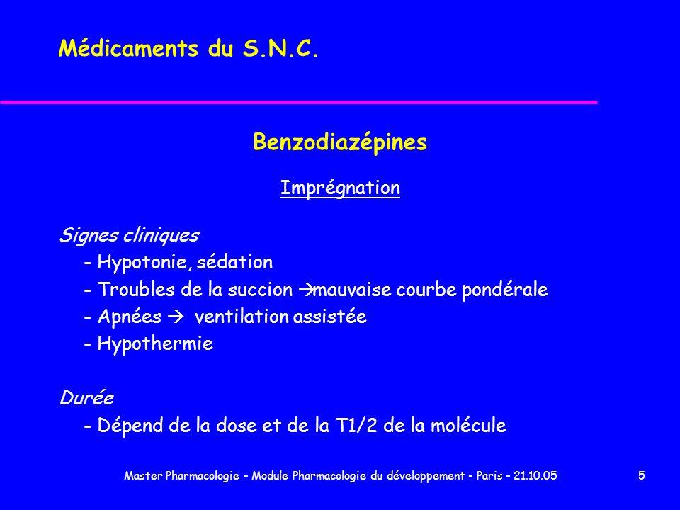 Médicaments du S.N.C. Benzodiazépines Imprégnation Signes cliniques