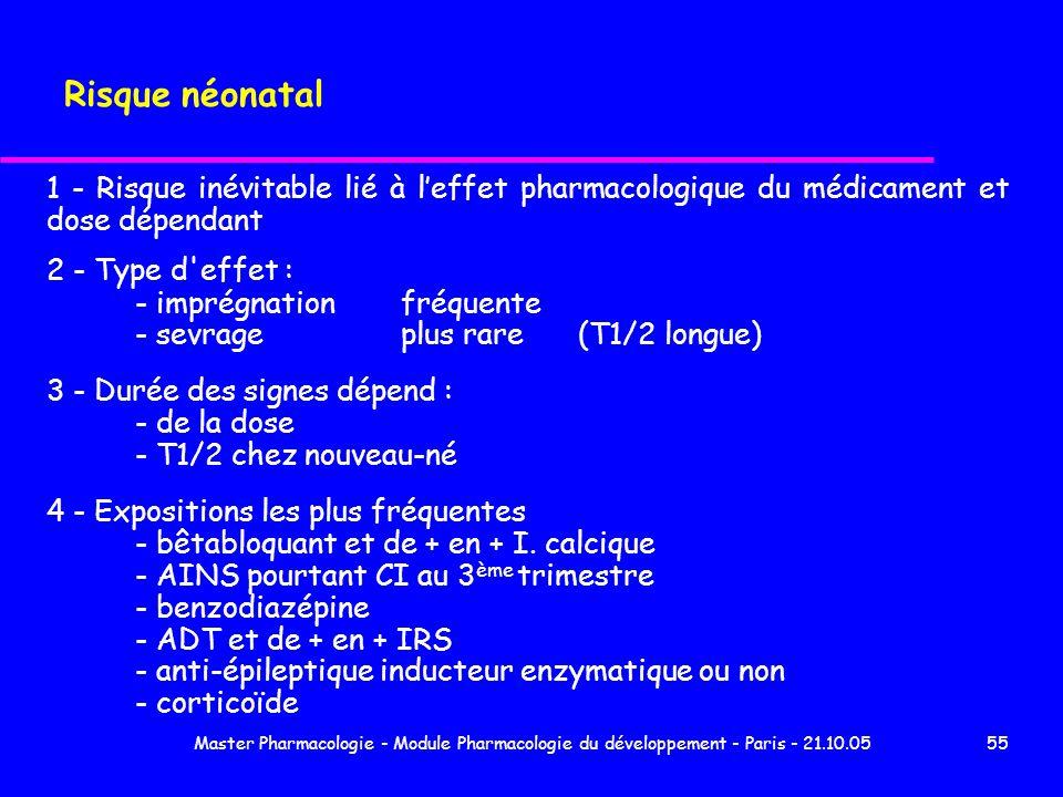 Risque néonatal 1 - Risque inévitable lié à l'effet pharmacologique du médicament et dose dépendant.