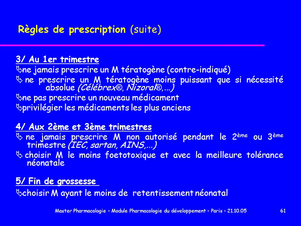 Règles de prescription (suite)