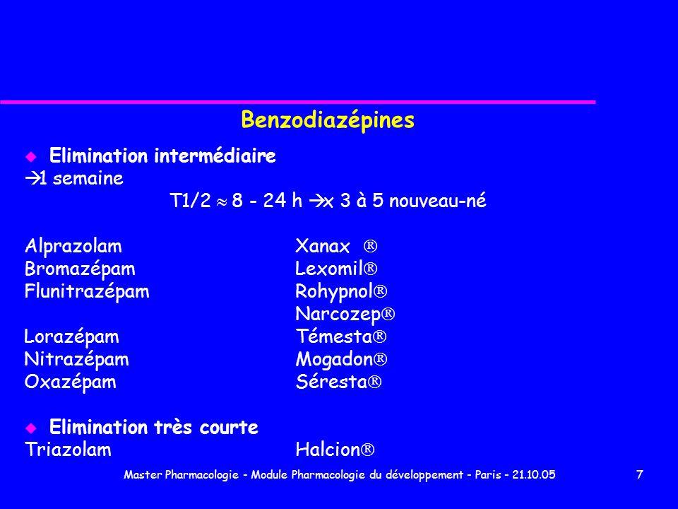 Benzodiazépines Elimination intermédiaire à 1 semaine