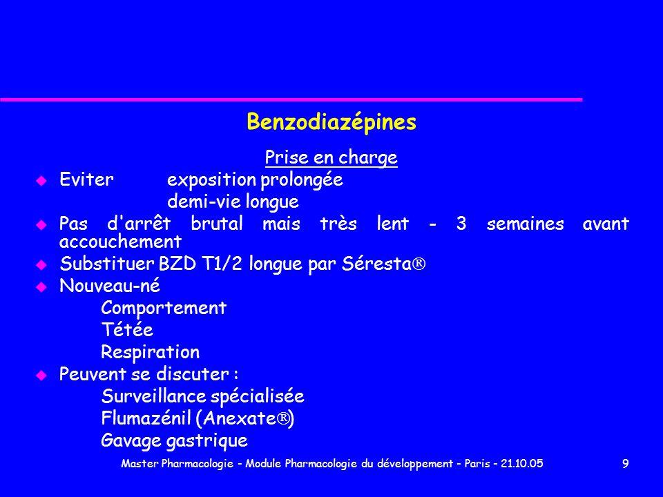 Benzodiazépines Prise en charge Eviter exposition prolongée