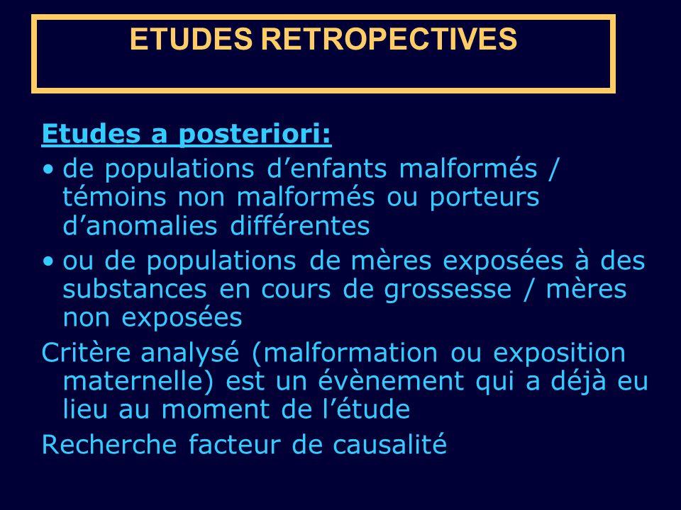 ETUDES RETROPECTIVES Etudes a posteriori: