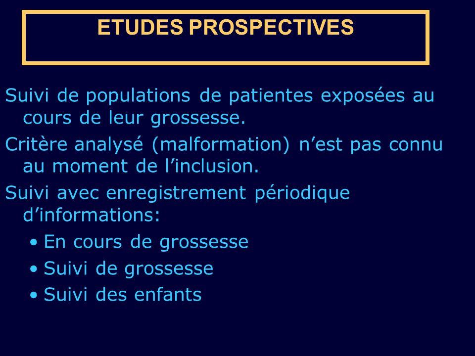 ETUDES PROSPECTIVES Suivi de populations de patientes exposées au cours de leur grossesse.