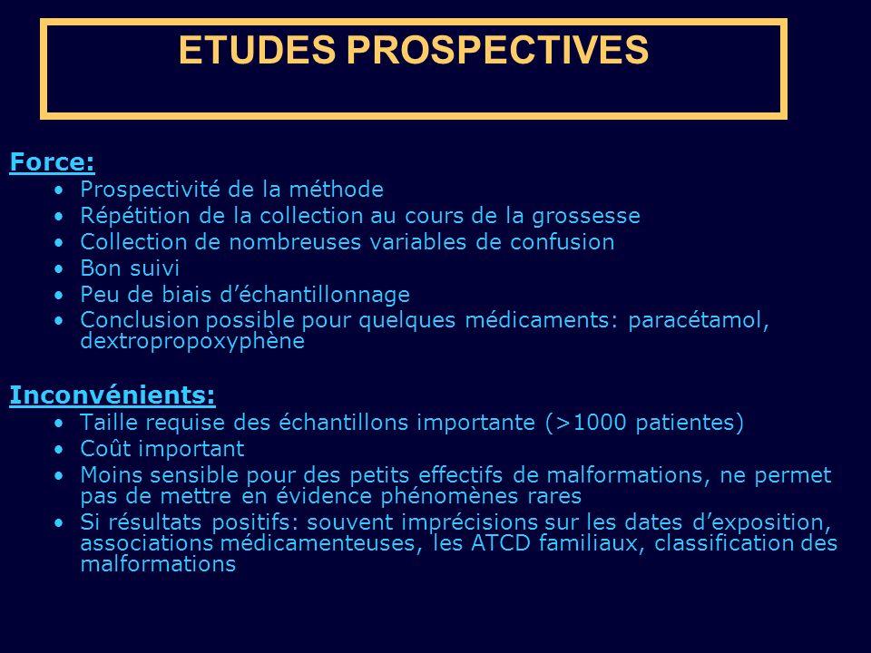 ETUDES PROSPECTIVES Force: Inconvénients: Prospectivité de la méthode