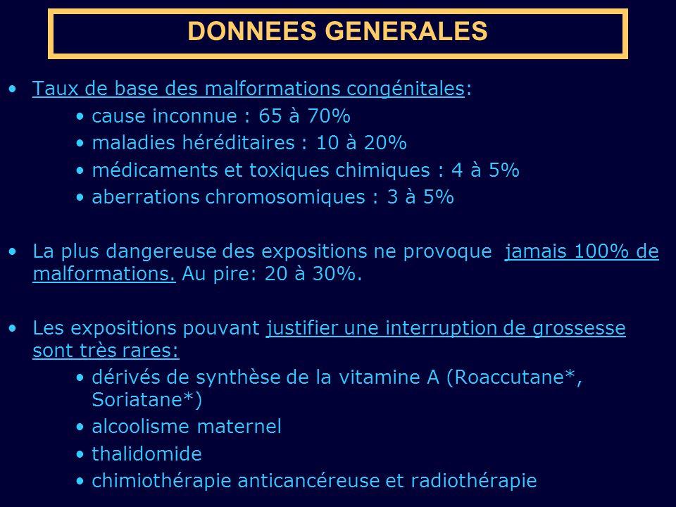 DONNEES GENERALES Taux de base des malformations congénitales:
