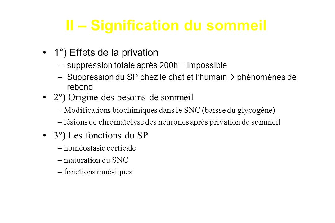 II – Signification du sommeil