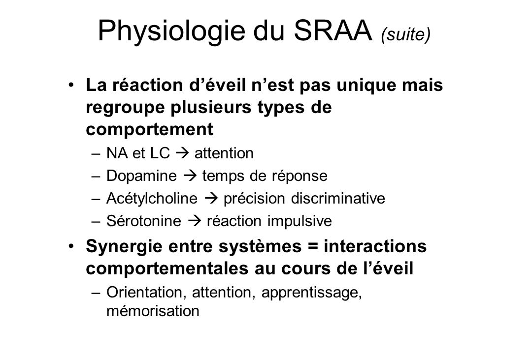 Physiologie du SRAA (suite)