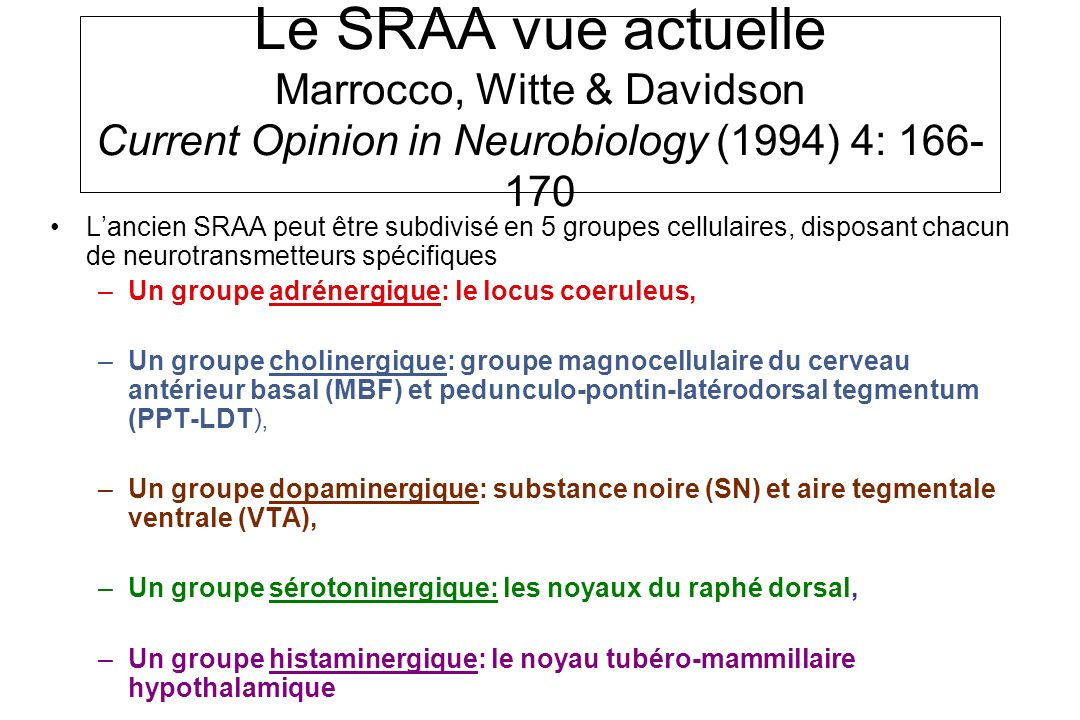 Le SRAA vue actuelle Marrocco, Witte & Davidson Current Opinion in Neurobiology (1994) 4: 166-170