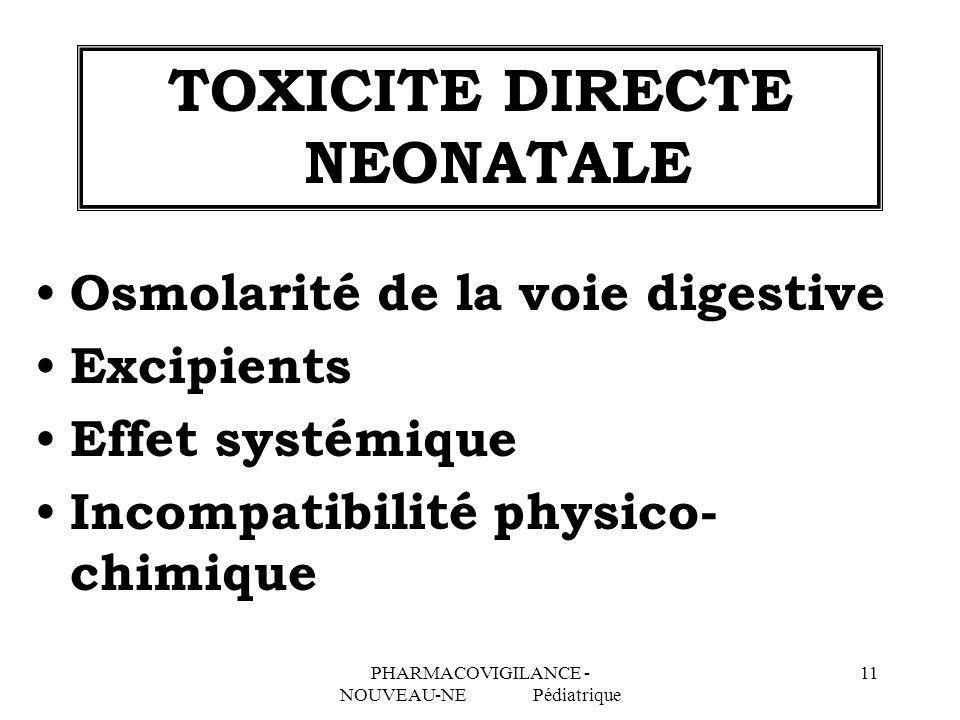 TOXICITE DIRECTE NEONATALE