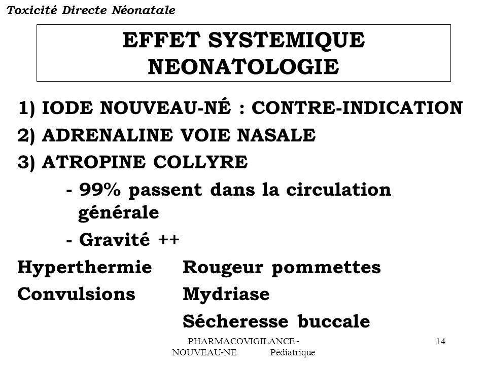 EFFET SYSTEMIQUE NEONATOLOGIE