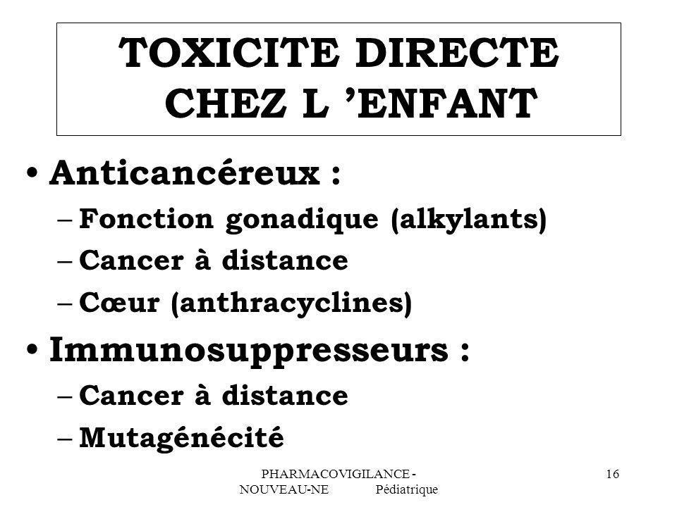 TOXICITE DIRECTE CHEZ L 'ENFANT