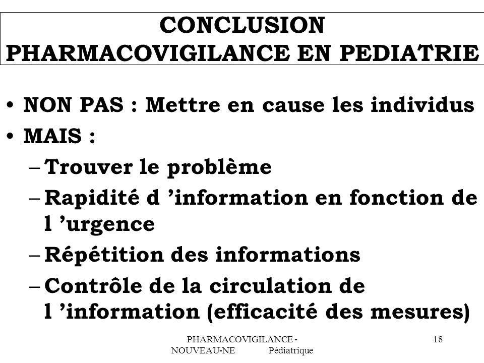 CONCLUSION PHARMACOVIGILANCE EN PEDIATRIE