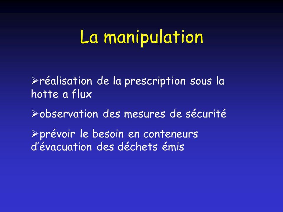 La manipulation réalisation de la prescription sous la hotte a flux