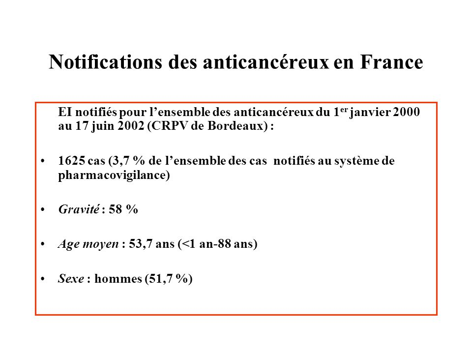 Notifications des anticancéreux en France