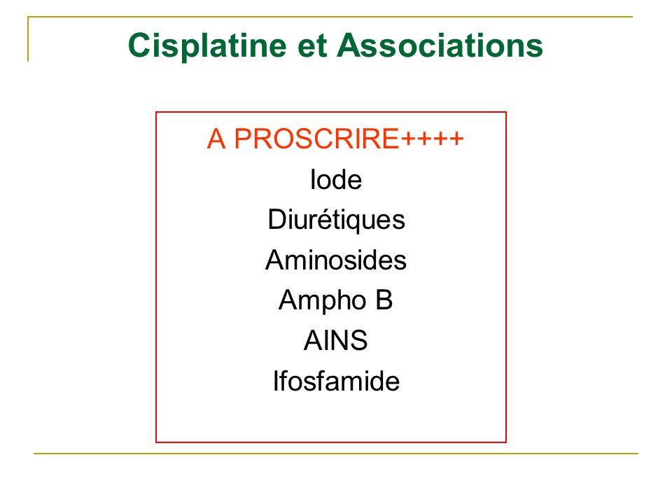 Cisplatine et Associations